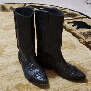 Cole Haan Black Woven Leather Midcalf Cowboy Boots